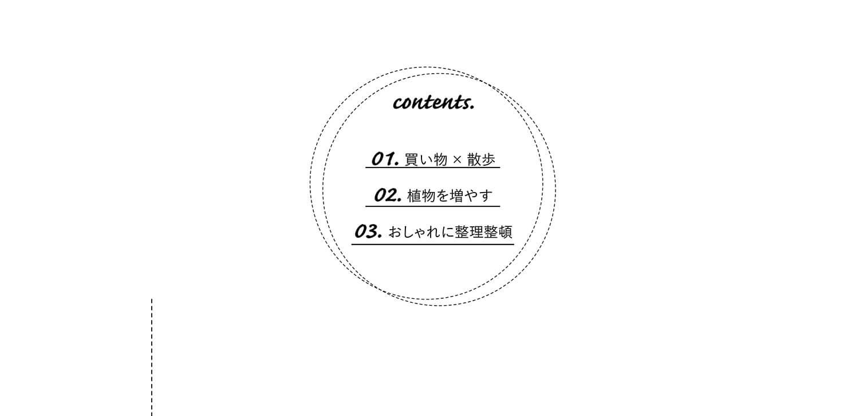 contents. 01.買い物×散歩 02.植物を増やす 03.おしゃれに整理整頓