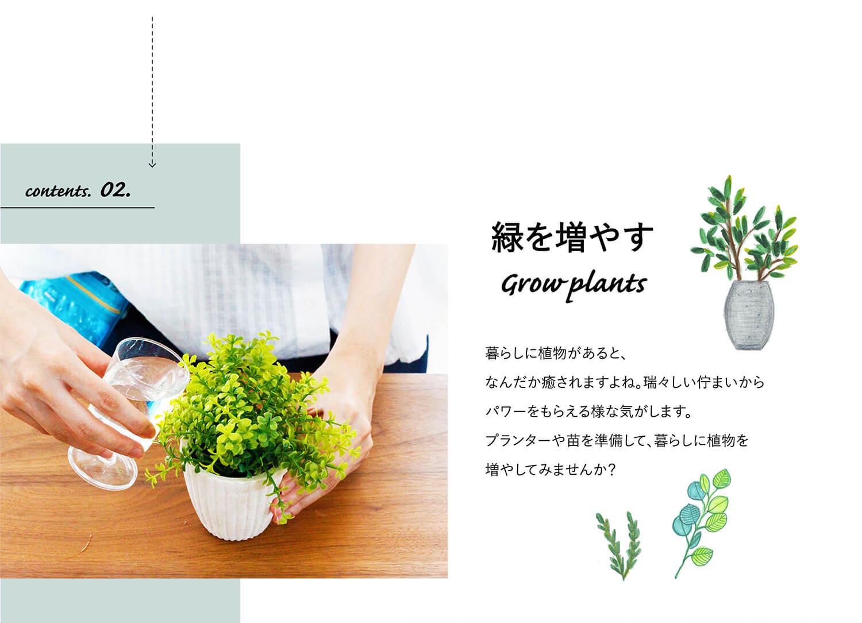 contents.02.植物を増やす grow plants 暮らしに植物があるとなんだか癒されますよね。瑞々しい佇まいからパワーをもらえる様な気がします。プランターや苗を準備して、暮らしに植物を増やしてみませんか?