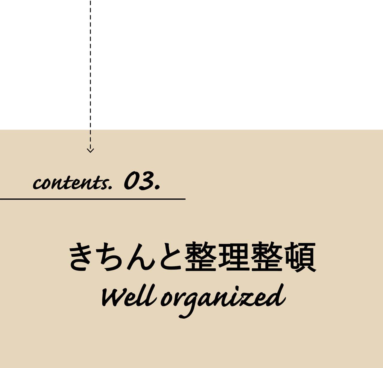 contents.03.おしゃれに整理整頓 Well organized.